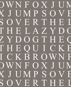Identity Papers Lazy Dog Quick Brown Fox Wordsearch Wallpaper Taupe White Text