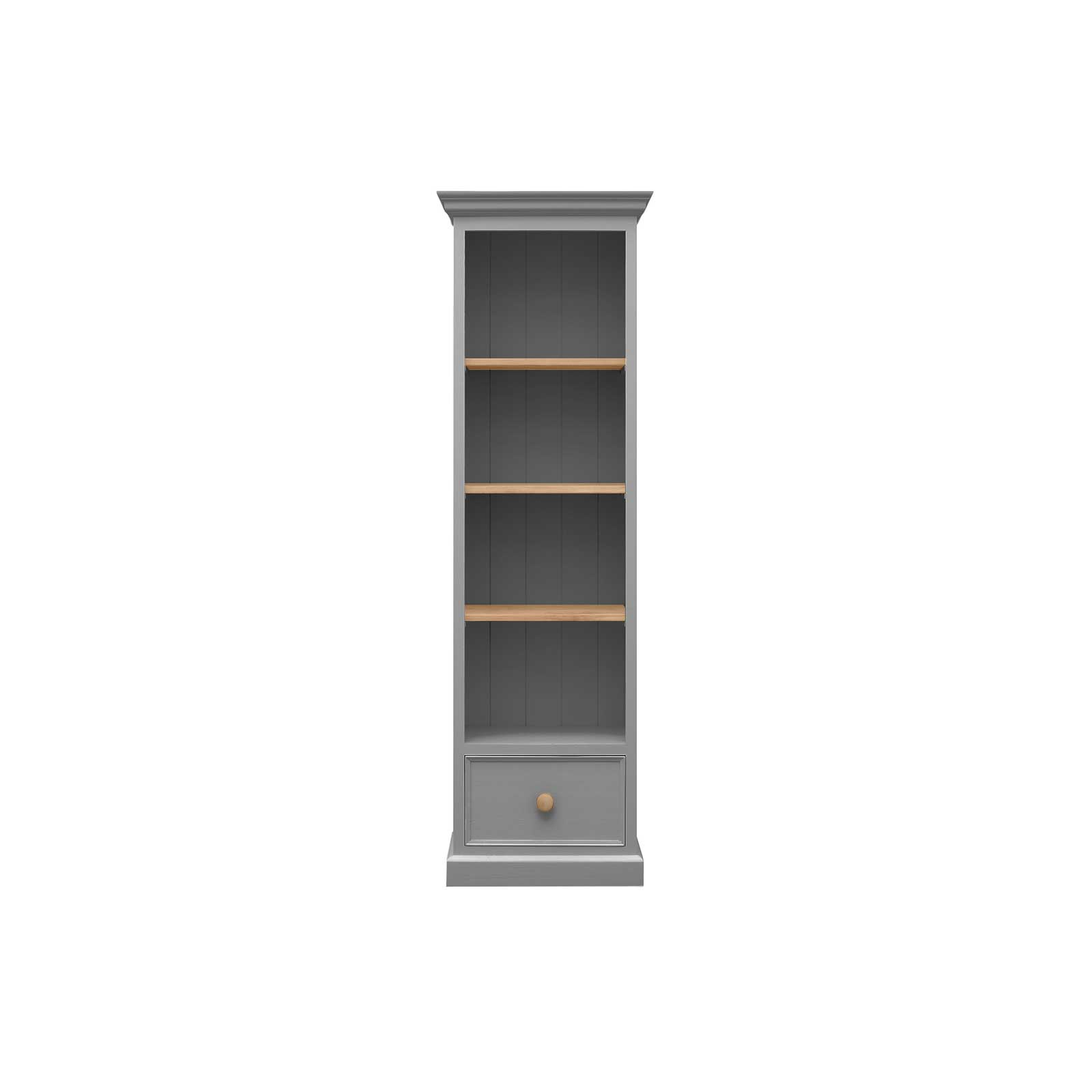 Sh Mbk204s Not Soho Shabby Chic Stone Grey Painted Furniture 1 Drawer Slim Bookcase