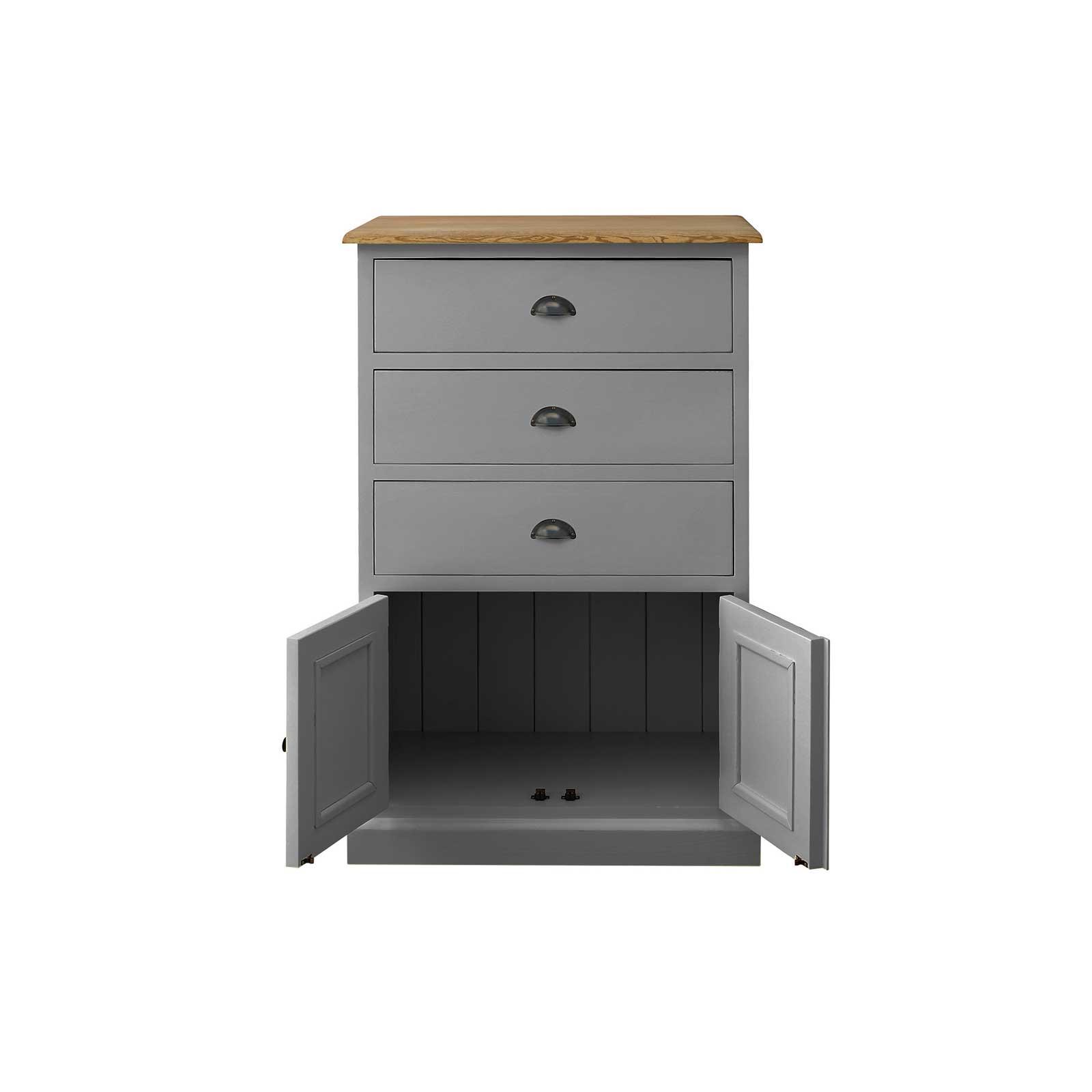 Soho Dark Grey Painted 3 Drawer Cabinet_2