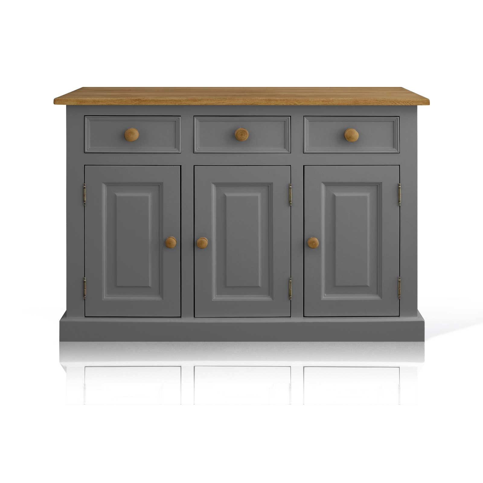 Soho Dark Grey Painted Argyll 3 Door 3 Drawer Dresser_1