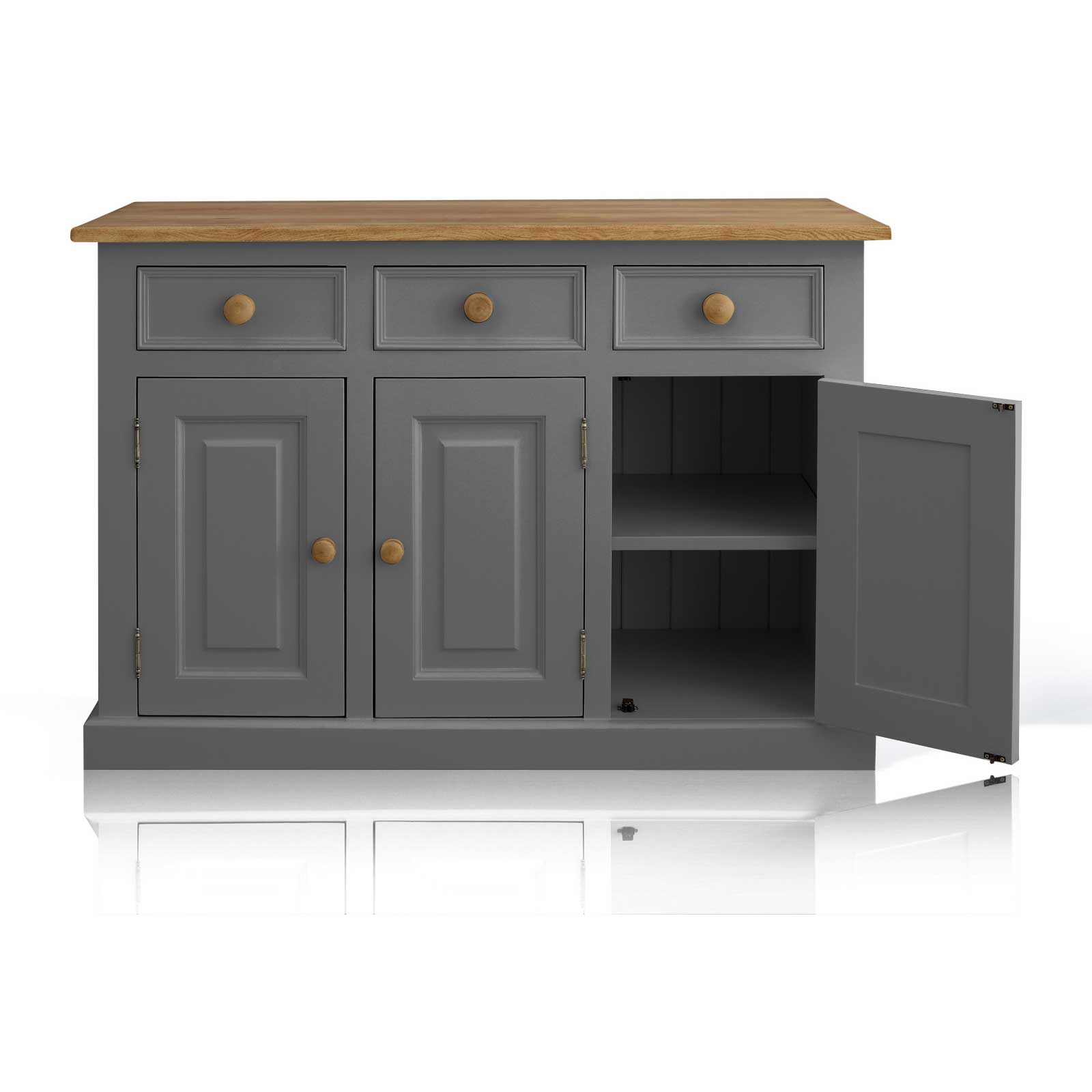 Soho Dark Grey Painted Argyll 3 Door 3 Drawer Dresser_2