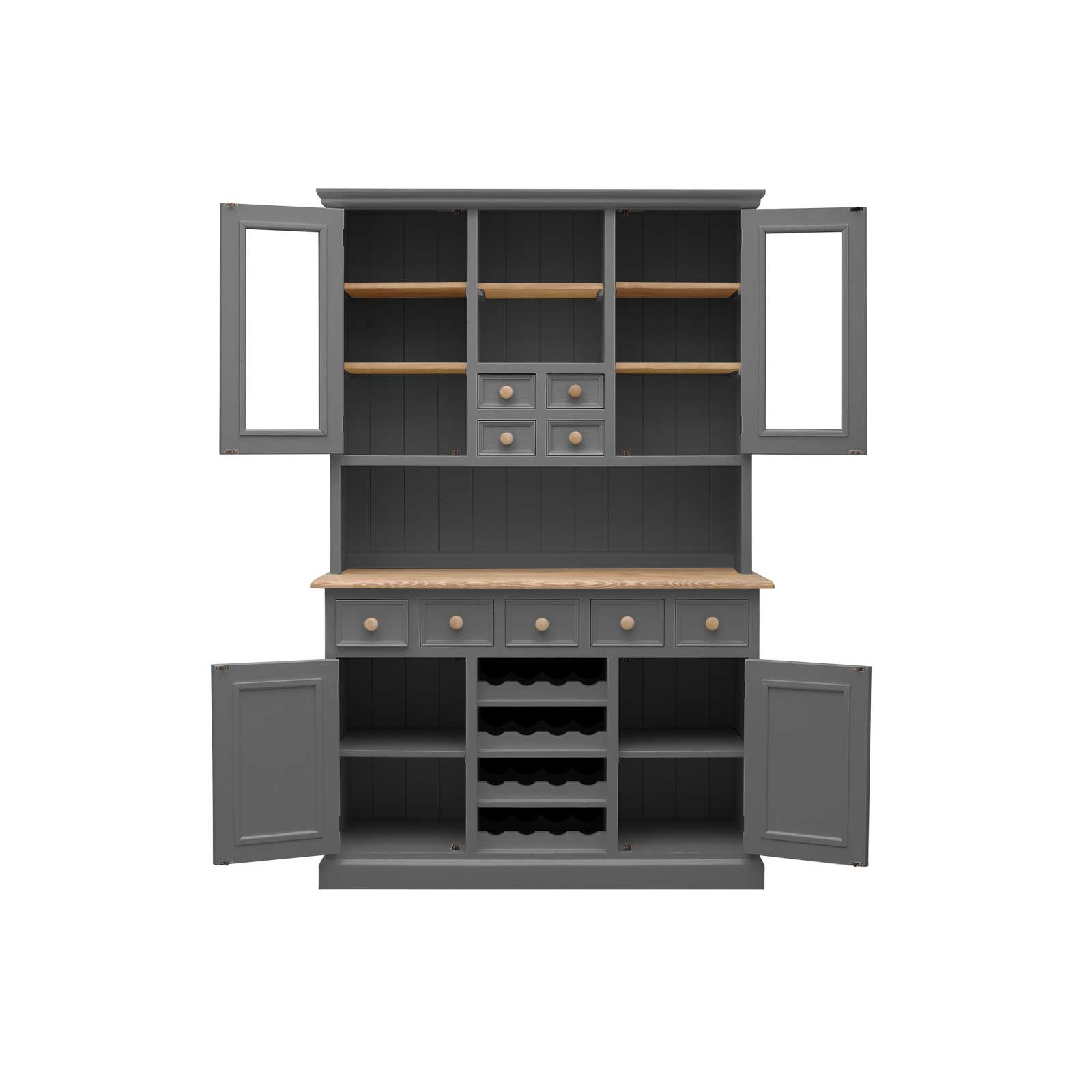 Soho Dark Grey Painted Bridle Dresser with Wine Rack_2