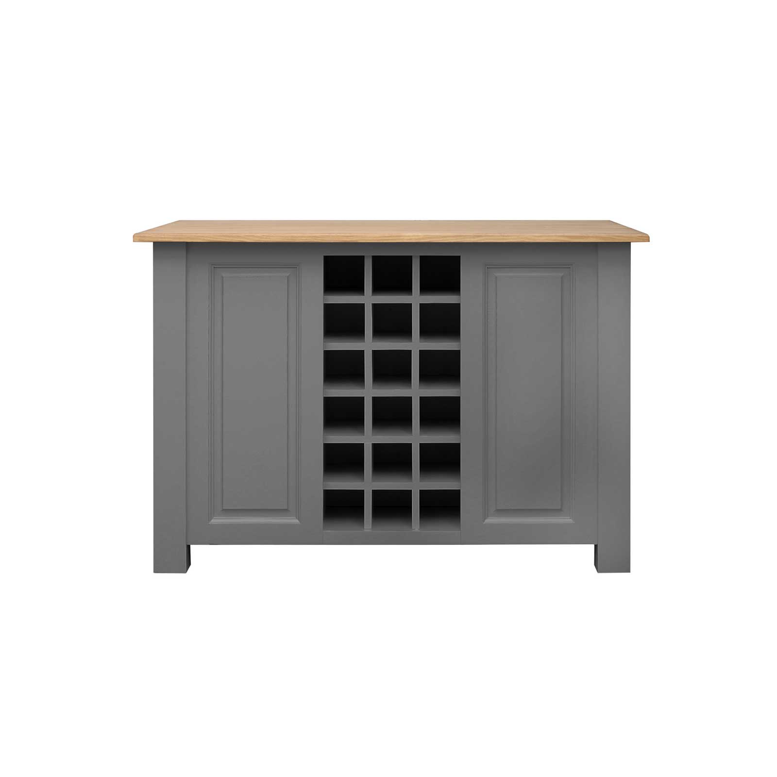 Soho Dark Grey Painted Kitchen Island with Wine Rack_1