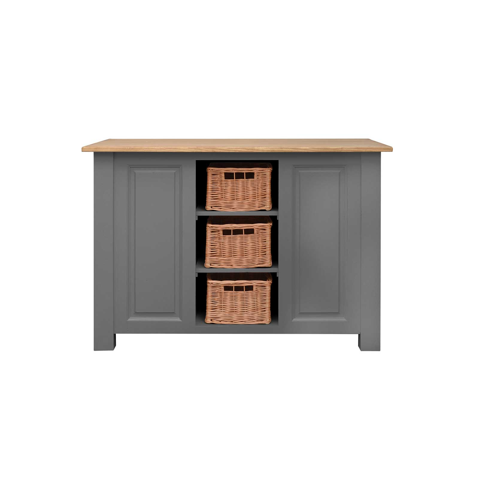 Soho Dark Grey Painted Kitchen Island with Wine Rack_2