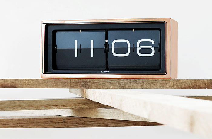 LEFF Amsterdam Brick Clock in Copper
