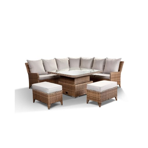Laytona Garden Lounge Set in Brown – Corner Sofa with Rising Table 2 Benches