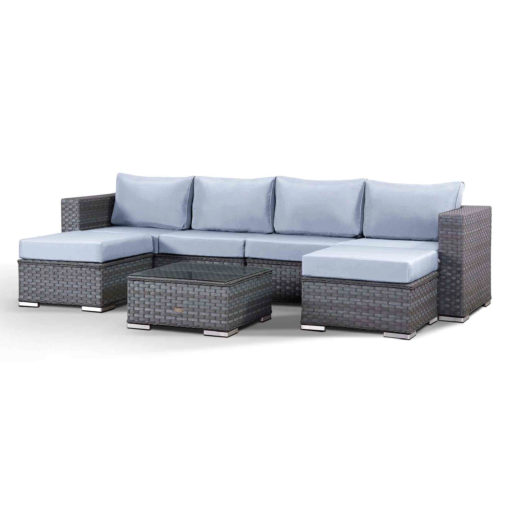Ontario Garden Lounge Sofa with Double Chaise and Coffee Table Angled