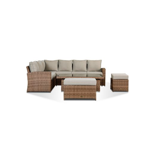 Sloane Garden Lounge Set in Brown - Corner Sofa with Rising Table, Stool & Bench