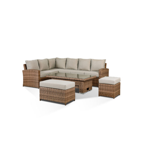Sloane Garden Lounge Set in Brown - Corner Sofa with Rising Table, Stool & Bench Angled