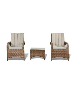 Zoe Garden Lounge Set in Brown - 2 Bistro Chairs and Coffee Table