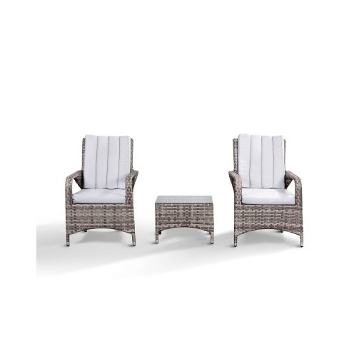 Zoe Garden Lounge Set in Grey - 2 Bistro Chairs and Coffee Table