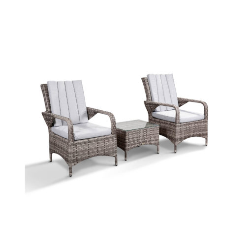 Zoe Garden Lounge Set in Grey - 2 Bistro Chairs and Coffee Table Angled