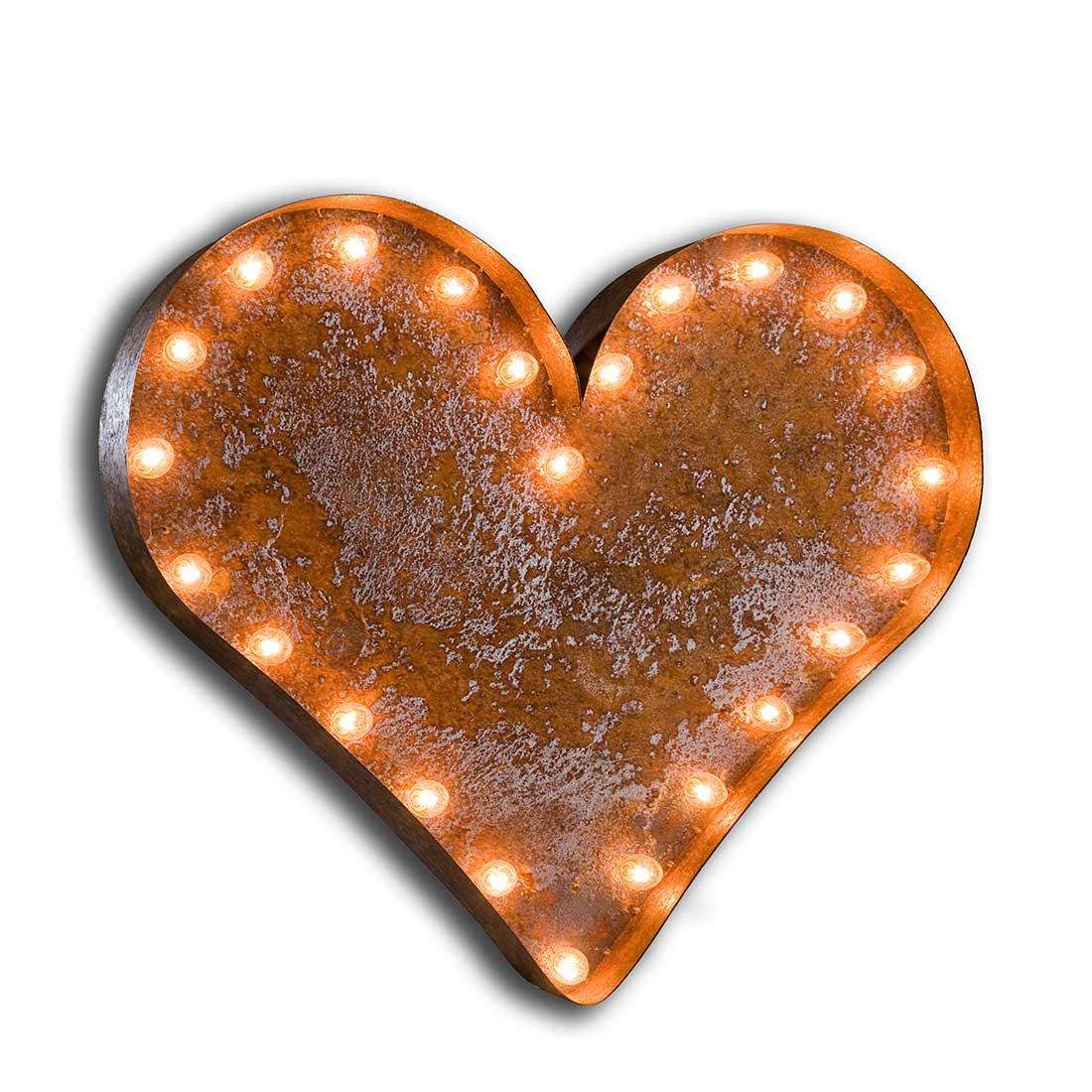 Vintage Letter Light 'Heart' Sign