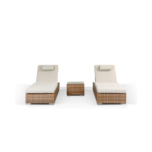 Creole Garden Lounge Set in Brown - 2 Sun Loungers and Coffee Table