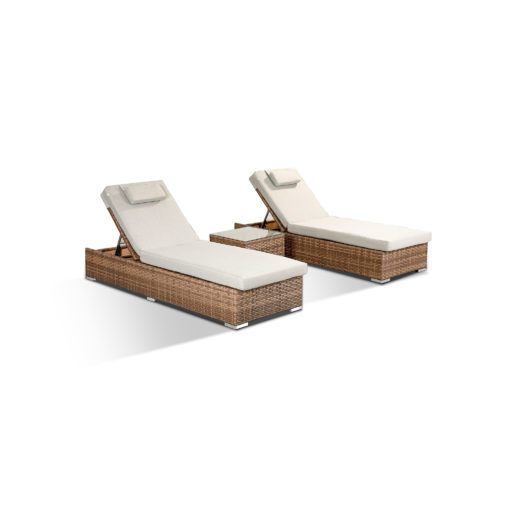 Creole Garden Lounge Set in Brown - 2 Sun Loungers and Coffee Table Angled