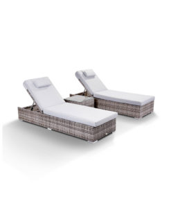 Creole Garden Lounge Set in Grey - 2 Sun Loungers and Coffee Table Angled
