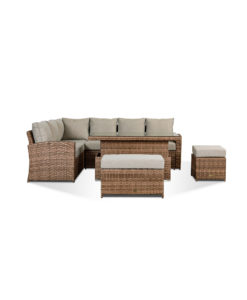 Sloane Garden Lounge Set in Brown - Corner Sofa with Rising Table, Stool & Bench Dining