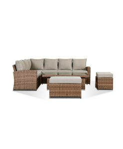 Sloane Garden Lounge Set in Brown - Corner Sofa with Rising Table, Stool & Bench