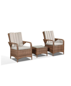 Zoe Garden Lounge Set in Brown - 2 Bistro Chairs and Coffee Table Angled